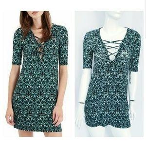 TOPSHOP Lace-Up Knit Dress Tunic Leaf Print Sz 4